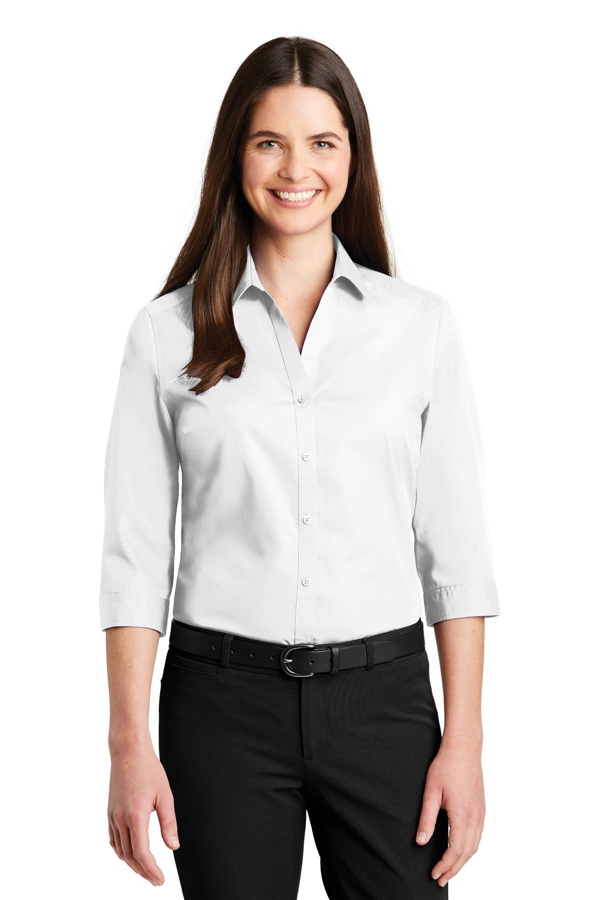 f0c403ed8 Port Authority ® Ladies 3/4-Sleeve Carefree Poplin Shirt. LW102